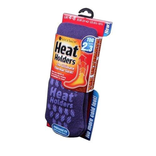 (UK 4-8 EURO 37-42, Plum) - Womens/Ladies Heat Holders Extra Warm Thermal Slipper Socks (2.3 Tog)