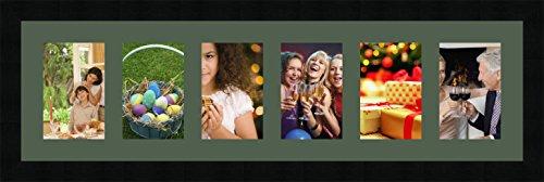 Cadres Photos pêle mêle multivues Vert Foret 6 Photo(s) 10x15 Passe Partout, Cadre Photo Mural 72x20 cm Noir, 3 cm de Largeur