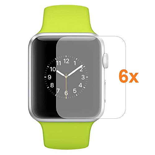 Protector de Pantalla para Apple Watch Series 1 - Series 2 - Series 3 38mm, Reloj SmartWatch, (Pack 6X)