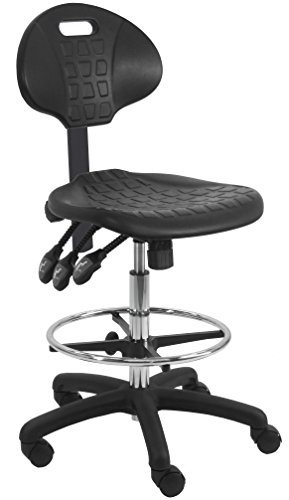 """BenchPro Deluxe Firm Polyurethane Foam Chair with 18"""" Adjustable Footring, Nylon Base, 21"""