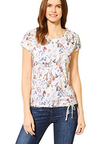 Cecil Damen 314909 TOS Flower Smock Shoulder T-Shirt, Light Alabaster White, Medium