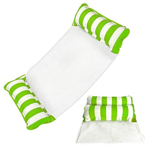 ZMDHL Hamaca de agua 4 en 1 a rayas, sillón colgante de agua, tumbona para piscina, tumbona hinchable para piscina para adultos y niños (verde)