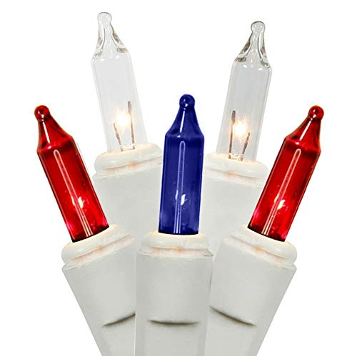 Holiday Essentials Red White and Blue Lights on White Wire - Patriotic Christmas Lights - UL Listed - Set of 100