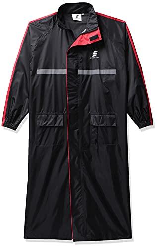 Amazon Brand – Symactive Water Resistant Polyester Long Rain Coat, Black, Large