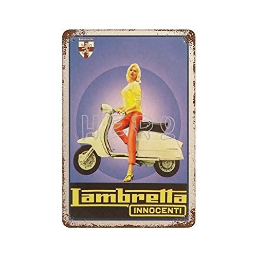 XREE Lamberta Innocenti Scooter motocicleta Sexy Gir Art Cartel de lata 30 x 40 cm vintage accesorios para el hogar displate Tin signos retro placas de metal pintura de hierro Rusty Poster