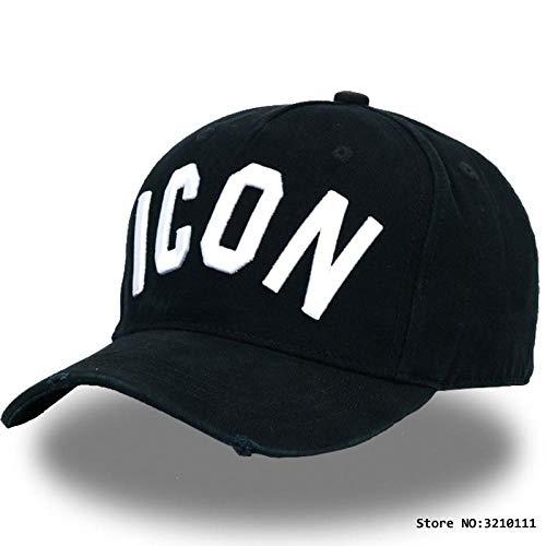 QIANWEIXI Gorra Beisbol Hombre Bordado Negro Icon Dad Hip Hop Gorra De Béisbol Sombreros Letras Snapback Cap para Hombre Gorras Gorra De Deportes Al Aire Libre Curved Trucker Hat