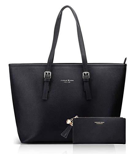 Women Handbag Laptop Tote Bag Large PU Leather Shoulder Bag Designer Lightweight Computer Tote Bag, Gift with a Ladies Purse
