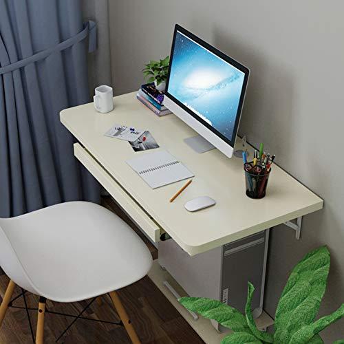 XXFZDCP Mesa de Banco de Trabajo de Escritorio de Hoja abatible de Madera Mesa montada en la Pared con Soporte para Teclado y pequeños Compartimentos para Placa de Mesa para el hogar, la Oficina