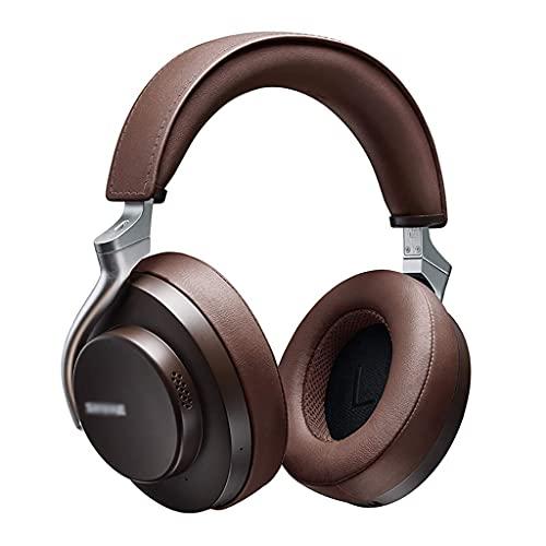 WYZQ Auriculares estéreo para Juegos, Auriculares inalámbricos con cancelación de Ruido y micrófono, Auriculares inalámbricos en Modo cableado Durante 20 Horas (marrón)