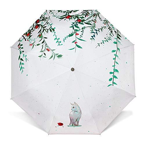 KDOAE Paraguas de Lluvia De Peso Ligero al Aire Libre Paraguas Plegable Paraguas a Prueba de Viento de Viajes de Protección Solar Ligero (Color : White, Size : One Size)