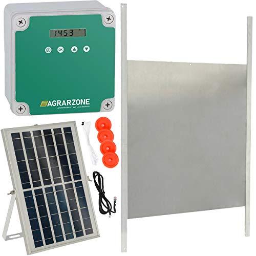 Agrarzone automatische Solar Hühnertür Hühnerklappe mit Schieber 43 x 40 cm | Türöffner Hühnerstall mit Zeitschaltuhr & Lichtsensor | 230V, Batterie & Solar | Hühnerstall-Tür für sichere Hühnerhaltung