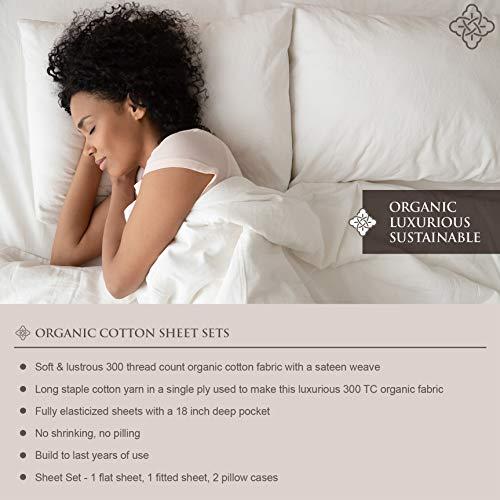 """BIOWEAVES 100% Organic Cotton Sheets 300 Thread Count 4-Piece GOTS Certified Bed Sheet Set That Fits Mattress Upto 17"""" Deep Pocket, Soft & Silky Sateen Weave (Queen, Light Grey)"""