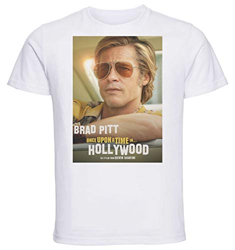 Instabuy T-Shirt Unisex - White Shirt - Playbill - Once Upon a Time in Hollywood - Brad Pitt