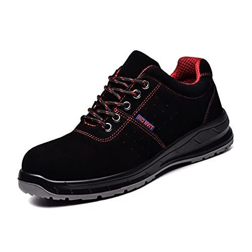 Aingrirn Zapatos de Seguridad Hombre Mujer, Punta de Acero Ligero Respirable Zapatillas de Trabajo Construcción Zapatos Piel (Color : Red, Size : 47 EU)