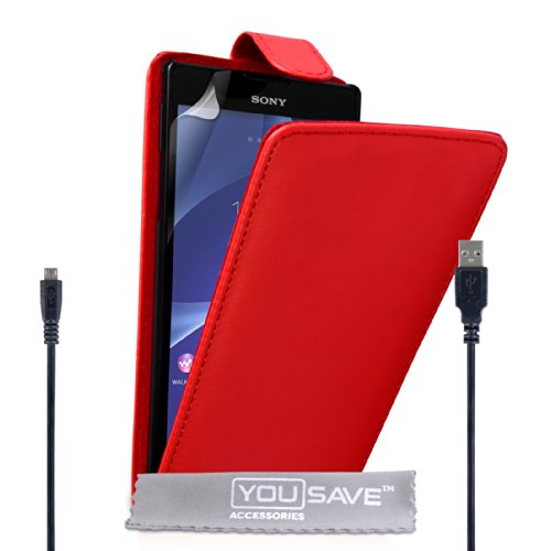Yousave Accessories® Kompatibel Für Sony Xperia T2 Ultra Tasche Rot PU Leder Klapp Hülle Und USB-Kabel