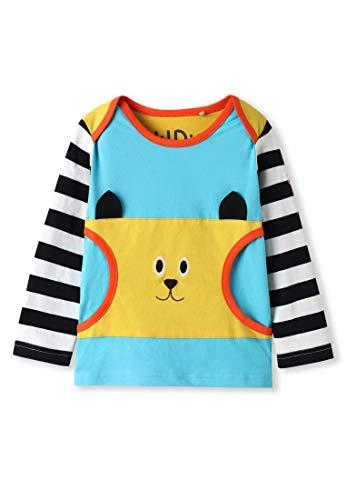 Algodón orgánico - Camiseta bebé con Apliques de Animales - Manga Larga - Niñas Niños (Bolsillo Gato, 0-3 Meses)