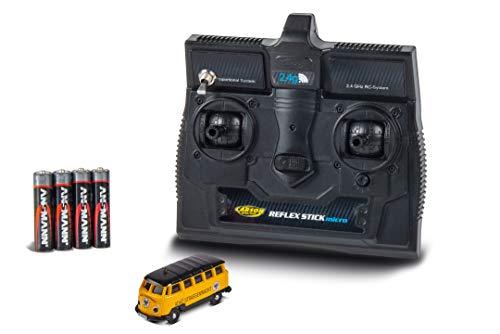 Carson 500504136 VW T1 Bus Samba ADAC 2.4GHz 100 % RTR, ferngesteuertes Fahrzeug, fahrfertiges Modell, mit LED Beleuchtung und schaltbarer Warnleuchte, sehr Kleiner Wendekreis, perfekt für Dioramen