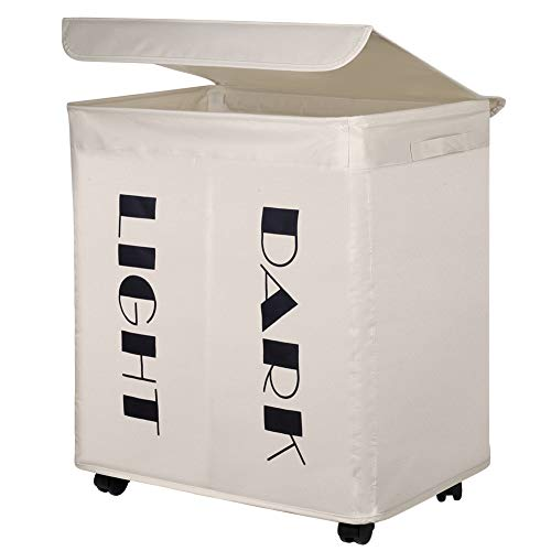 IHOMAGIC Cesto para Ropa Sucia Plegable Bolsa Colada para Baño con Doble Compartimiento Organizador Lavandería Oxford 600D PVC Resistente para Cocina Dormitorio Hotel Viaje Gran Capacidad 105L