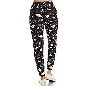 Leggings Depot JGA-S512W-L Space Wonders Print Jogger Track Pants w/Pockets, Large