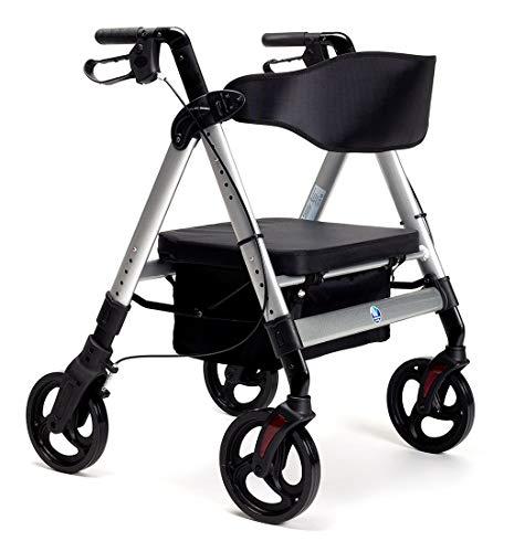 FabaCare XXL Rollator Goliat, höhenverstellbar, faltbar, mit Sitz und Rückenlehne, Tasche, Gehwagen, Rollwagen, bis 200 kg, Farbe Silber