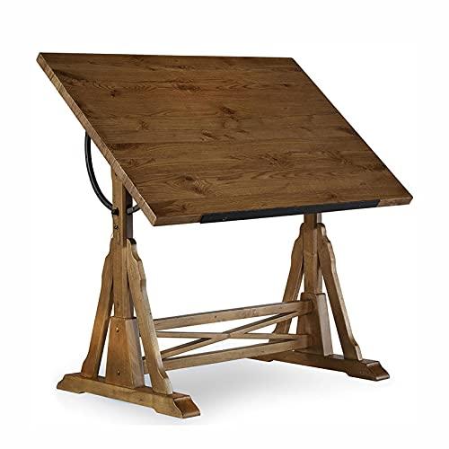 ZDAMN Mesa de pintura americana con diseño de escritorio, mesa de pintura de madera maciza, caballete de madera maciza, mesas de dibujo para arte (color: natural, tamaño: 135 x 85 x 96 cm)
