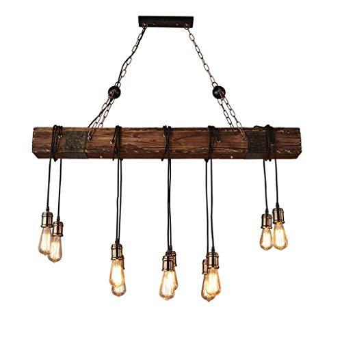 Kroonluchter Kroonluchter antieke, houten balken Industrial Island Linear Hanglamp 9 Lampen Kroonluchter Plafonds opknoping Light