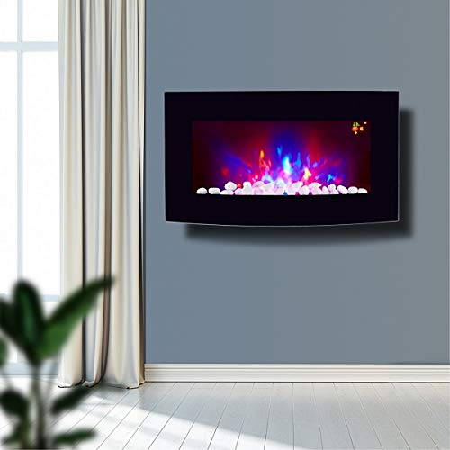 TruFlame 2021 7 colour Side LEDs Wall Mounted Arched Glass Electric Fire with Pebble Effect (72cm wide)