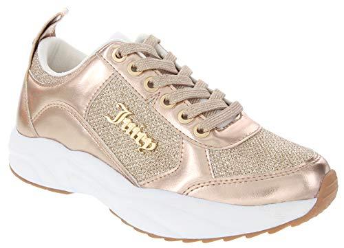 Juicy Couture Enchanter Women Lace Up Fashion Sneaker Casual Shoes Enchanter Rose Gold Glitter 8