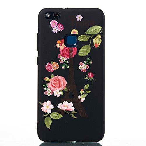 Misteem Couleur Coque pour Huawei Y7 2019 Mince Créatif Dessin (Tour Fleurs) - Retro Noir Fine Silicone Antichoc Étui Couverture Arrière pour Huawei Y7 2019