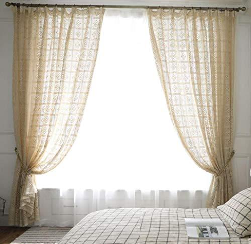Leinenfamilie rustikal Häkelvorhänge handgemacht Baumwolle Fenster Vorhang Paneel Beige Schlafzimmer Dekor, beige, 79