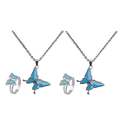 Harilla 2 Juegos de Collar de Piedras Preciosas Anillo Cambio de Color Temperatura Cadena de Eslabones Colgante de Mariposa Collar Conjunto de Joyas