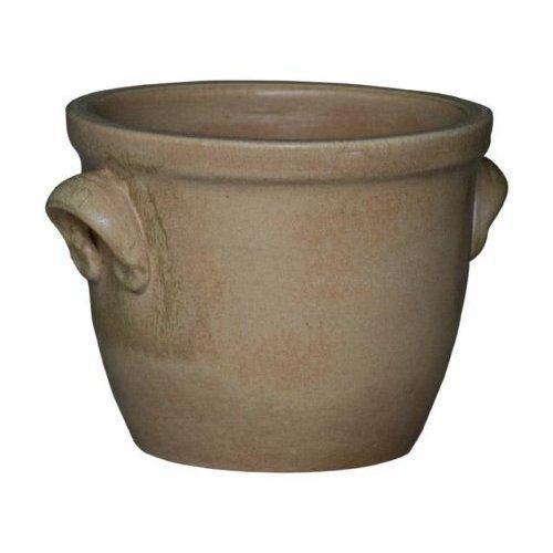Pflanzgefäß / Blumentopf / Pflanzkübel Venus II mit Henkel, 19 x 15 cm, antik (Sandfarben) aus Steinzeug-Keramik (hochwertiger als Steingut)