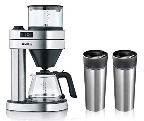 """Unbekannt Kaffeemaschine """"Caprice"""", KA 5760, Silberfarben/Schwarz + Gratis dazu: 2 Thermobecher, Edelstahl, 360 ml"""