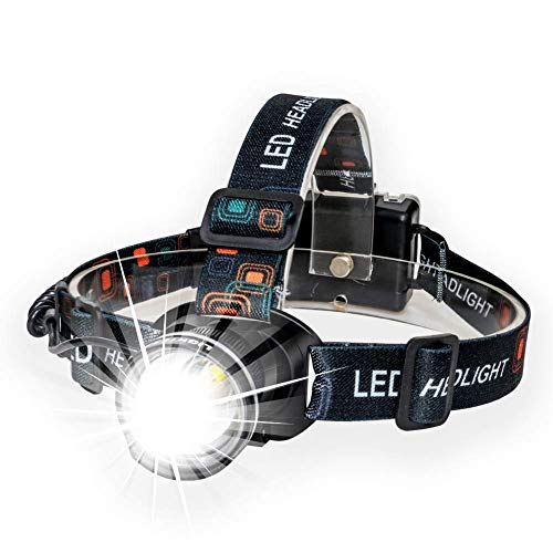 Lightess Headlights Super Bright Zoomable Headlamp 1800lm XM-L T6 LED Head Torch Waterproof Adjustable Head Lamp for Running Climbing Hunting Fishing Cycling Riding Camping, Black, 3 Modes