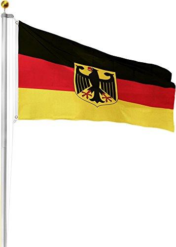 Circle Five Aluminium Fahnenmast 6,20m 6,50m 6,80m oder 7,50m Höhe inkl. Deutschlandfahne mit Adler 90x150 Größe 6.8 Meter