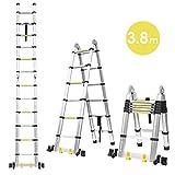 Fixkit 3.8M Escalera Plegable Aluminio, Escalera Telescópica(1,9M+1,9M), Escalera Alta Multifuncional Portátil para Loft,12 Escalones Antideslizantes y Ruedas en Parte Inferior, 150kg