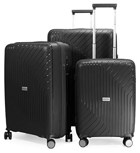 HAUPTSTADTKOFFER- TXL - 3er Set Hartschalengepäck, leichte Trolleys, Kofferset (Handgepäck + mittelgroßer Koffer + großer Reisekoffer) aus robustem Polypropylen, Schwarz