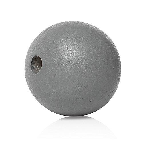 SiAura Material 50 Stück Holzperlen 20mm mit 3-3,5mm Loch, Rund, Grau zum Basteln