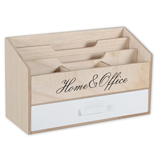 DRULINE brievenbus Home Office Brievenbakje Organizer Hout Shabby Chic Landhuis naturel