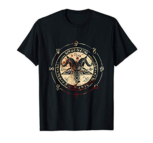 Seal Of Baphomet Occult Pentagram Goat Satanic Occult Maglietta