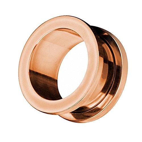 Taffstyle Piercing dilatador para la oreja, de acero inoxidable, con cierre de rosca, 12 mm, color oro rosa