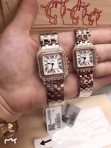 Luxury Uomo Donna Orologio Quarzo Sapphire Acciaio Inossidabile Quadrato Oro Rosa Argento Bianco 2 Righe Diamanti Orologi LuminosiDonna 22mm Rose Gol