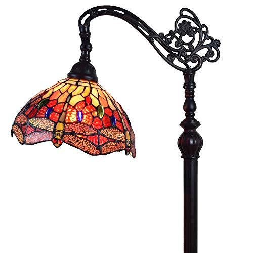 Amora Lighting Tiffany Style Floor Lamp Arched Adjustable 62u0022 Tall Stained Glass Red Yellow Green Dragonfly Antique Vintage Light Decor Bedroom Living Room Reading Gift AM079FL10B, 10 Inch Diameter
