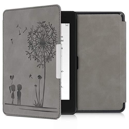 kwmobile Hülle kompatibel mit Amazon Kindle Paperwhite (10. Gen - 2018) - Kunstleder eReader Schutzhülle Cover Case - Pusteblume Love Grau