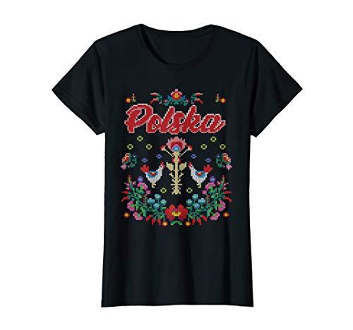 Polen Trikot Polska polnische Folklore Damen Tracht Geschenk T-Shirt