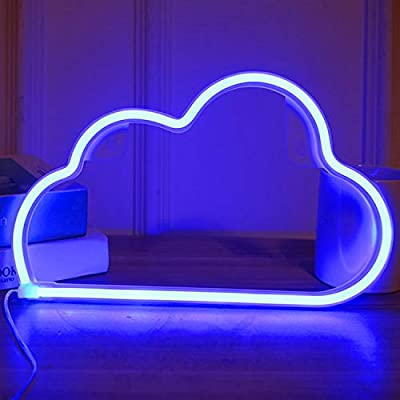 CREPRO Cloud Neon Sign,USB Charging/Battery LED Neon Decorative Lights for Bedroom, Decorative LED Sign for Christmas,Birthday Party, Living Room, Girls,Kinds Room Decor (Blue)