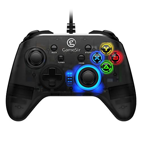 GameSir T4w Wired Controller für PC Windows 7/8/10, USB Gamepad mit LED-Hintergrundbeleuchtung Joystick Vibration Feedback, Dual Shock Game Gamepad Semi-transparentes Design