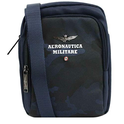 Aeronautica Militare Men's Shoulder Bag Black Camou Line BLUE