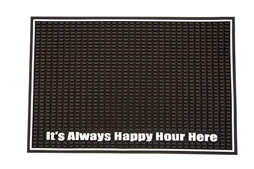 Highball & Chaser Alfombrilla de bar de alta calidad, 45,7 x 30,5 cm, con felpudo de bar Happy Hour para derrames. Alfombrilla de servicio para café, bares, restaurantes y...