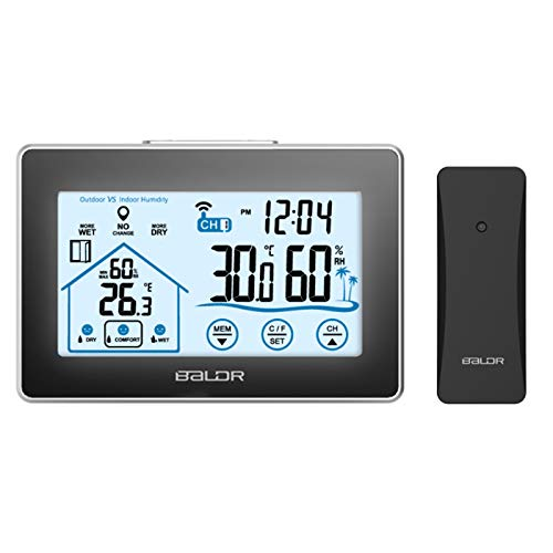 Wireless Digital Weather Station, Indoor and Outdoor Hygrometer Temperature Humidity Meter, Battery Operated Home Thermometer, Backlight Function, Max Min Record, Wet Dry Comfort Monitor, Touch Screen